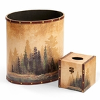Misty Forest Scenery Wood Trash Cans and Tissue Box Covers, Set of 4