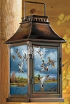 Mixed Getaway Mallard and Pintail Ducks Metal and Glass Candle Lantern