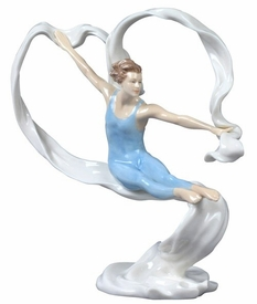 Modern Dance Male Jumping Porcelain Sculpture