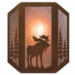 Moose and Pine Trees Three Panel Metal Wall Sconce
