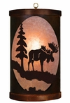 Moose and Tree Metal Round Pendant Light