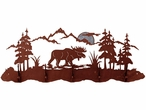 Burnished Moose Scene Five Hook Metal Wall Coat Rack
