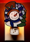 Mosaic Snowman Night Lights, Set of 2