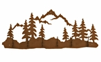 Mountain and Pine Trees Scene Six Hook Metal Wall Coat Rack