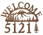 Mountain Scene Metal Address Welcome Sign