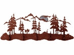 Burnished Mountain Scene Five Hook Metal Wall Coat Rack