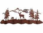 Mule Deer Scene Five Hook Metal Wall Coat Rack