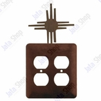 New Mexico Sun Double Metal Outlet Cover