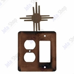 New Mexico Sun Double Metal Outlet Cover with Single Rocker