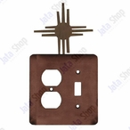 New Mexico Sun Double Metal Outlet Cover with Single Toggle