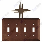 New Mexico Sun Quad Toggle Metal Switch Plate Cover