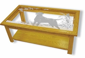 Etched Glass Solid Oak Coffee Table with Dog and Geese