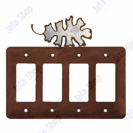 Oak Leaf Quad Rocker Metal Switch Plate Cover