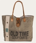 Old Time Golf Carts Stonewashed Canvas and Soft Leather Tote Bag