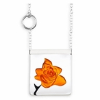 Orange Rose Garden Crystal Necklace with Silver Cap By Mats Jonasson