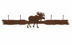 Original Moose Four Hook Metal Wall Coat Rack