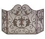 Ornate Metal Iron Fireplace Screen
