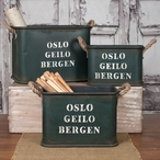 Oslo Geilo Bergen Metal Buckets, Set of 3