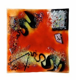 Out of this World Large Square Fused Glass Platter Charger