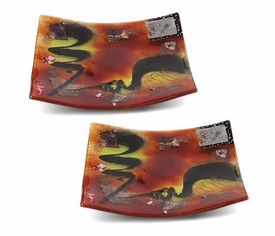 Out of this World Mini Square Fused Glass Plate, Set of 2