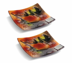 Out of this World Small Square Fused Glass Plate, Set of 2