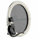 Oval Photo Frame with Cat Wearing a Bow, Set of 2
