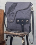 Owl Bird Crossbody Stonewashed Canvas and Soft Leather Tote Bag