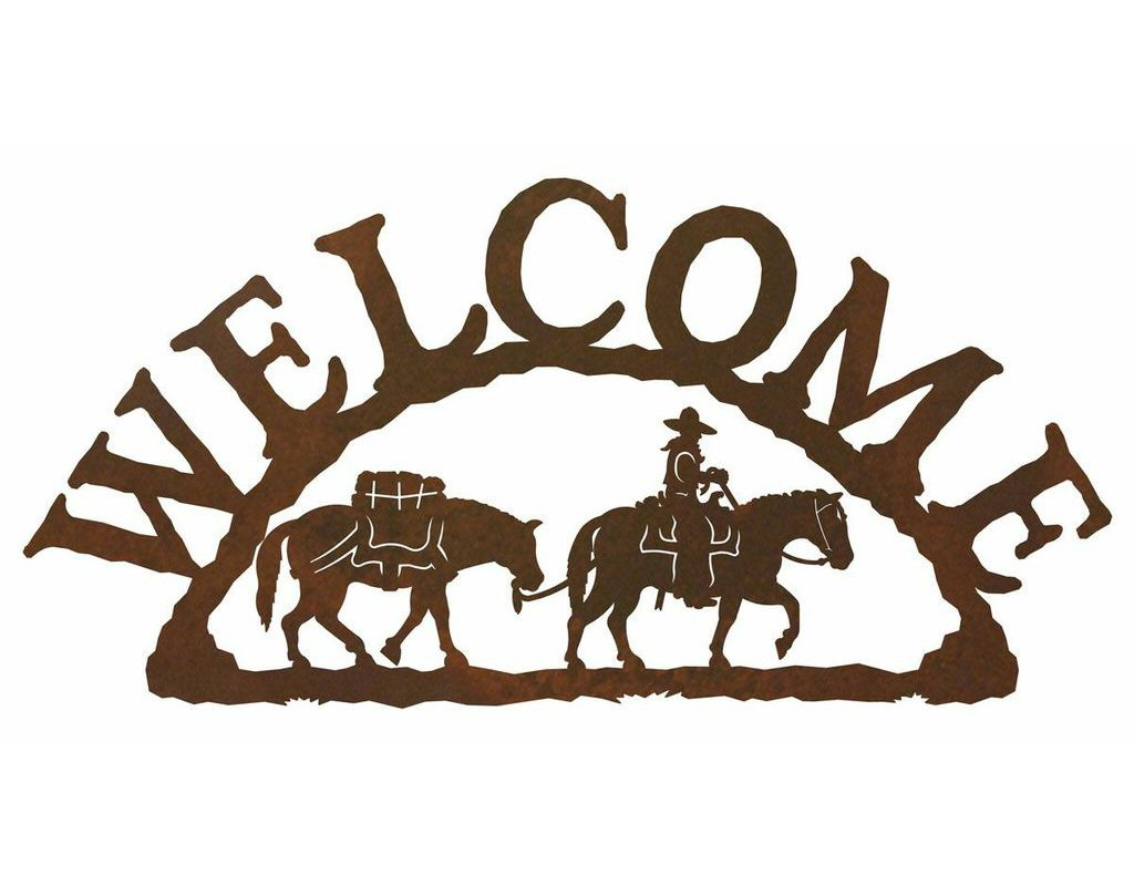 Pack Horse Metal Welcome Sign Rustic Outdoor Wall Decor