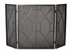 Pewter Mesh Geometric Iron Fireplace Screen