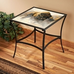 Phantom Bison Metal Accent Table with Glass Top