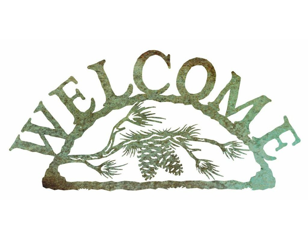 Pine Cone Branch Metal Welcome Sign - Rustic Outdoor Wall ...