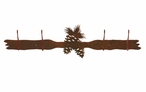 Pine Cones Four Hook Metal Wall Coat Rack