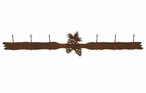 Pine Cones Six Hook Metal Wall Coat Rack