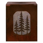 Pine Trees Metal Boutique Tissue Box Cover