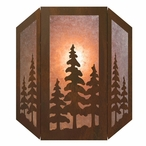 Pine Trees Three Panel Metal Wall Sconce