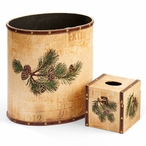 Pinecone Wood Trash Cans and Boutique Tissue Box Covers, Set of 4
