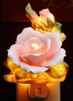 Pink Rose Flower Porcelain Night Lights, Set of 2