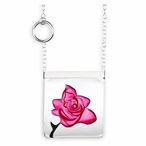 Pink Rose Garden Crystal Necklace with Silver Cap By Mats Jonasson