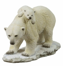 Polar Bear Cub Riding on Moms Back Sculpture