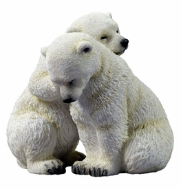 Polar Bear Cubs Embracing Sculpture