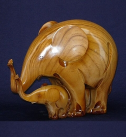 Polyresin Light Brown Elephant with Baby Statue