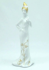 Porcelain Lady with Rose Sculpture