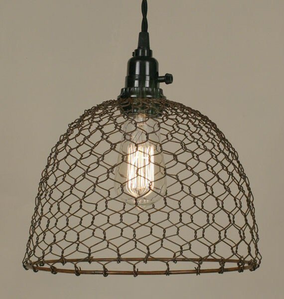 primitive rust chicken wire dome pendant lamp light