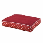 PS Cinnabar and Ikat Dot Red Pet Bed with Top Seam Cording