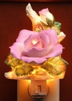 Purple Rose Flower Porcelain Night Lights, Set of 2