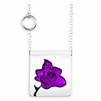 Purple Rose Garden Crystal Necklace with Silver Cap By Mats Jonasson