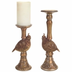 Quail Bird Pillar Candle Holder, Set of 2