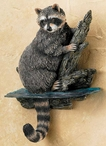 Raccoon Hand Painted Sculpted Single Wall Hooks, Set of 3