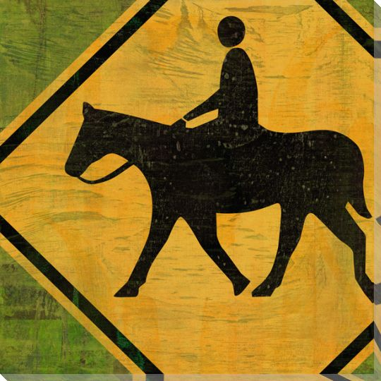 recreation horseback riding sign wrapped canvas giclee art