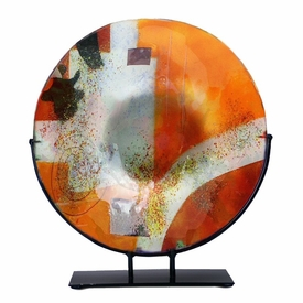 Red and Orange Large Round Fused Glass Platter Charger